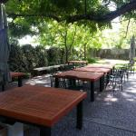 Handmade outdoor patio tables for Cakebread Cellars in Napa, Ca.